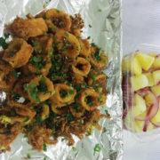 Prženi kolutići lignje obrok