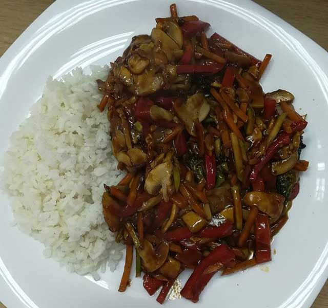 Vegetables in soy sauce delivery
