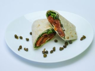 Tortilla with smoked salmon delivery