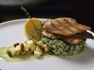 Smoked trout fillet on risotto with spinach delivery