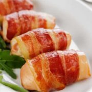 Chicken kebabs in bacon