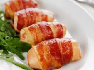 Chicken kebabs in bacon delivery