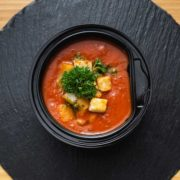 Tomato broth with aromatic cubes