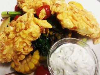Fried goat cheese with cornflakes with vegetables delivery