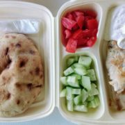 Grilled chicken with sour cream and sesame sauce