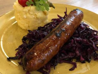 Slovak sausage with stewed cabbage and polenta with cheese delivery