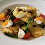 Home-made pasta with seasonal vegetables