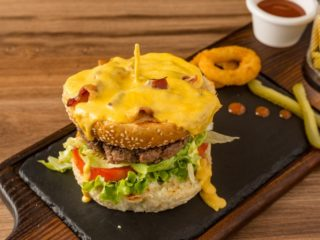 Extra Cheddar sauce Burger Brunch burger bar delivery