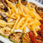 Grilled vegetables with French fries
