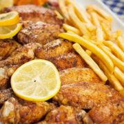 Grilled wings with French fries
