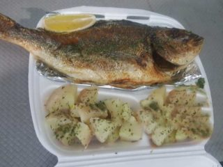Fresh grilled bream with side dish delivery