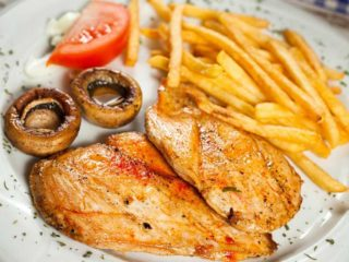Grilled chicken fillet with French fries delivery