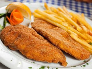 Fried paprika stuffed with cheese with French fries delivery