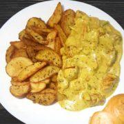 Piletina sa povrćem u kari sosu, salaški krompir