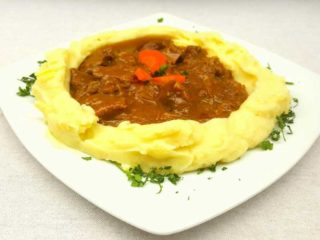 Goulash with young beef meat with side dish delivery