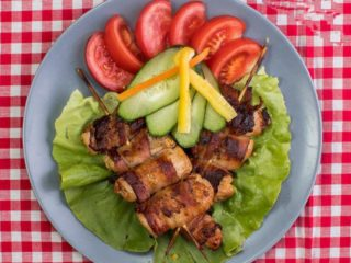 Rolled chicken skewers kg delivery