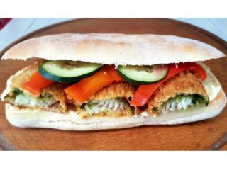 Fried hake sandwich delivery