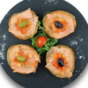 Bruschette smoked salmon fasting
