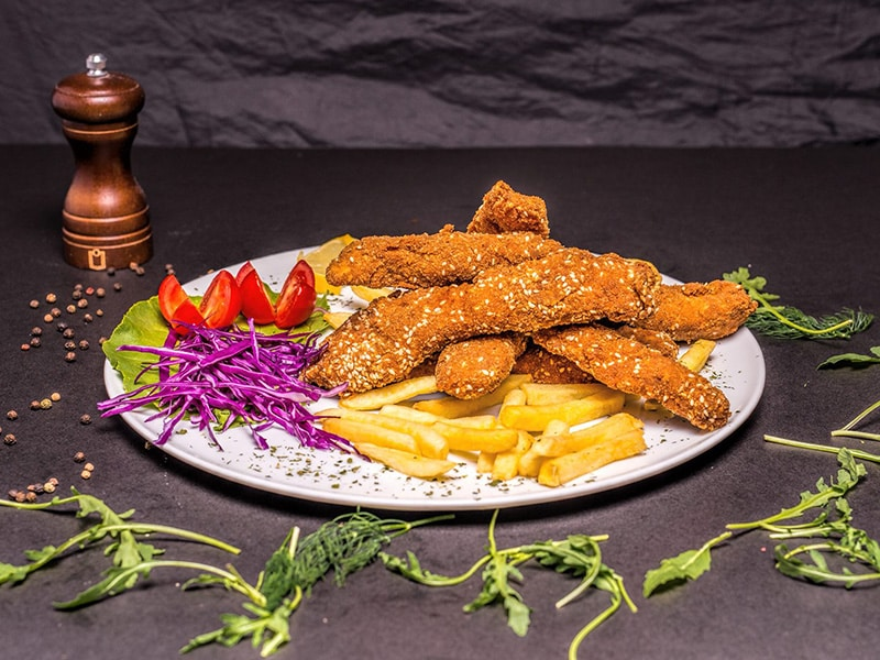 Fried chicken sticks with sesame delivery