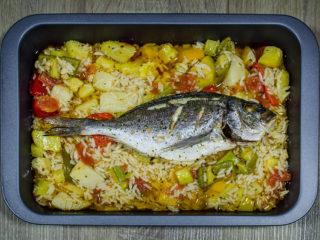 Sea bass with vegetables delivery