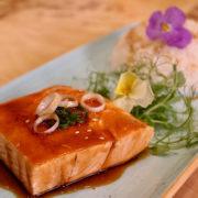 Teriyaki salmon with rice