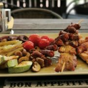 Mixed kabobs with grilled vegetables