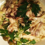 Pasta mushrooms, chicken fillet, neutral cream, parmesan