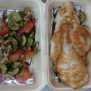 Chicken breasts and grilled vegetables