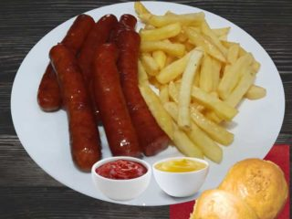 Smoked sausages with french fries dostava