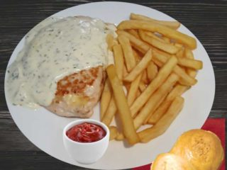 Stuffed chicken white with french fries dostava