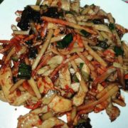 14. Shredded chicken breasts with bamboo and Chinese mushrooms