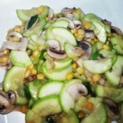 186. Zucchini with corn and mushrooms in white sauce