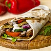 Falafel  and  shawarma dejaj sandwich