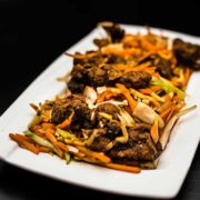 Fried pork leaves in soy sauce