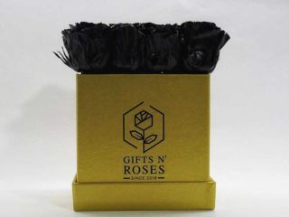 Golden box with black roses Gifts and Roses delivery