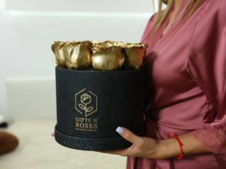 Premium box with golden rose Gifts and Roses delivery