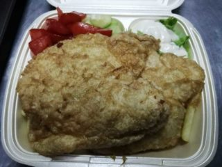 Fried chicken breasts meal delivery