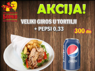 Big gyros in tortilla + Pepsi 0.33L Giros Borko delivery