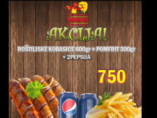 Grill sausages 600g + french fries 300g + 2 x Pepsi delivery