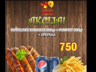 Roštiljske kobasice 600g + pomfrit 300g + 2 Pepsija dostava