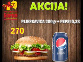 Pljeskavica 200g + Pepsi 0.33L Giros Borko delivery