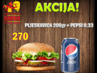 Pljeskavica 200g + Pepsi 0.33L Giros Borko dostava