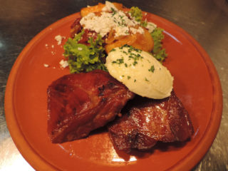 Grilled dry cured pork steak on kaymak delivery
