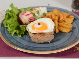 Beefsteak with egg delivery