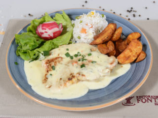 Turkey in gorgonzola sauce Fontana Restoran delivery