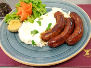 Slovakia piquant sausage with mashed potato Fontana Restoran delivery