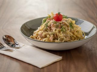 Tagliatelle with smoked salmon in dill sauce delivery