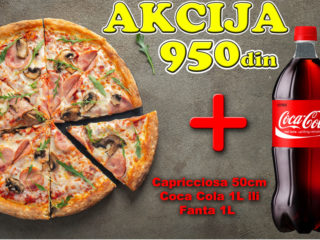 Capricciosa 50cm + Coca-Cola - Original 1L ili Fanta - Orange 1L Kuhinjica Novi Sad dostava