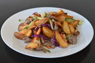 Veal fried with vegetables, patatoes and butter Chaos Banovo Brdo delivery