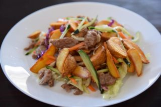 Fried pork with vegetables, patatoes and butter Chaos Banovo Brdo delivery